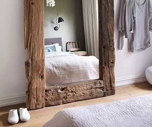 mirror, wood, and bedroom image