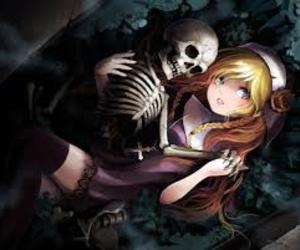 girl with skeleton image