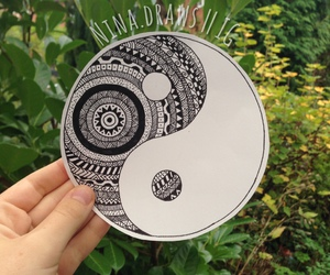 art, drawing, and yin yang image