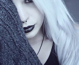 girl, goth, and piercing image