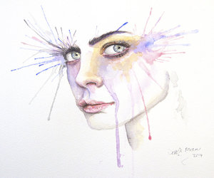 wall art and watercolour portrait image