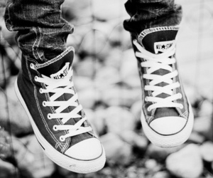 converse, all star, and black and white image
