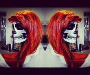 hair style, Halloween, and skull image