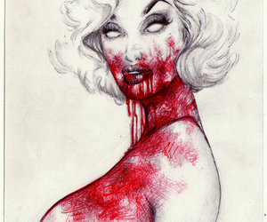 blood, marilyn, and zombie image