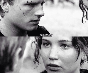 together, peeta, and katniss image