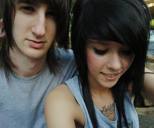 couple, piercing, and tattoo image