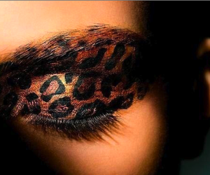 make up, leopard, and makeup image