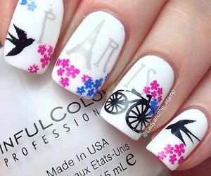 nails, paris, and flowers image