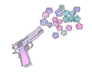 flowers, overlay, and gun image