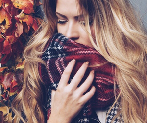 girl, autumn, and scarf image