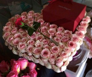 flowers, gift, and roses image