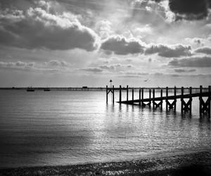 bridge, sea, and black - white image