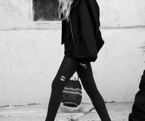 fashion, black and white, and skinny image