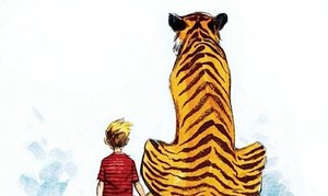 calvin and hobbes, watercolours, and illustration image