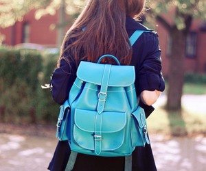 fashion, backpack, and blue image