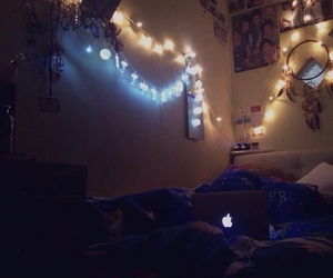 bed, dreamcatcher, and fairylights image
