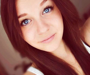 beautiful, brown hair, and blue eyes image