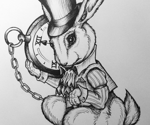 alice in wonderland, white rabbit, and drawing image