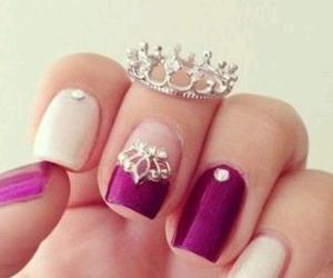 nails, crown, and nail art image