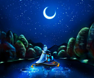 aladdin, moon, and love image