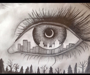 city, draw, and eye image