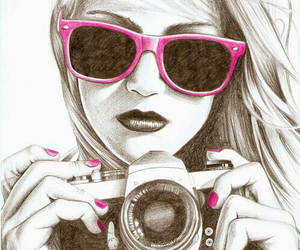 girl, pink, and camera image