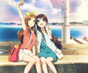 anime, friends, and selfie image