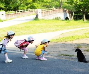 cute, cat, and children image