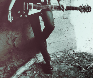 guitar, black and white, and rock image