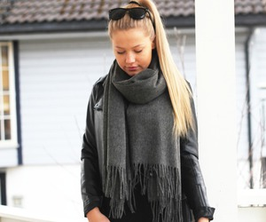 fashion, scarf, and blonde hair image