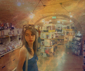 book shop, girl, and leopard image
