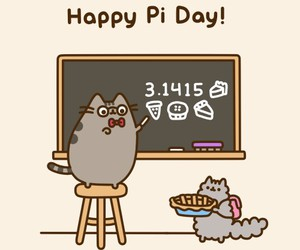 pusheen, cat, and pi day image