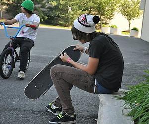 boy, skate, and bike image