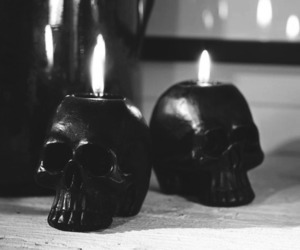 skull, candle, and black and white image