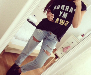 fashion, jeans, and brunette image