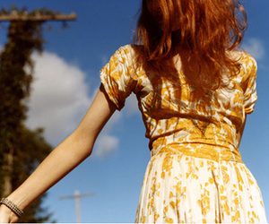 yellow, dress, and red hair image