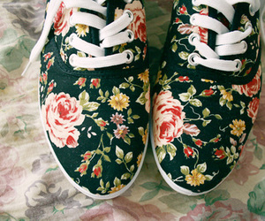 shoes, flowers, and fashion image