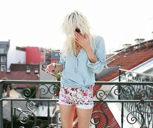 blonde, floral, and girl image