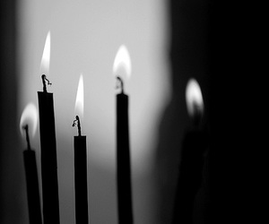 black and white, candles, and gloomy image