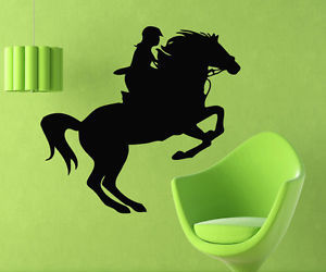 horse, wall decals, and woman image