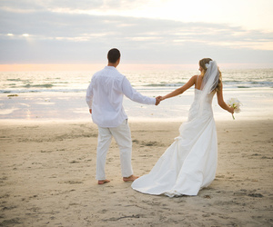 couple, wedding, and beach image