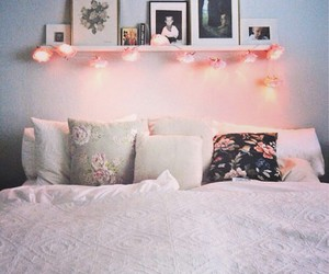 bed, girly, and light image