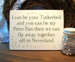 neverland, tinkerbell, and peter pan image