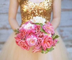 flowers, dress, and wedding image
