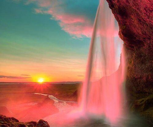 waterfall, sunset, and nature image