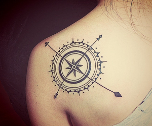 compass, tattoo, and ink image