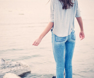 girl, jeans, and water image