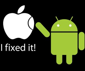 android, apple, and funny image
