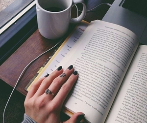 book, hand, and coffee image