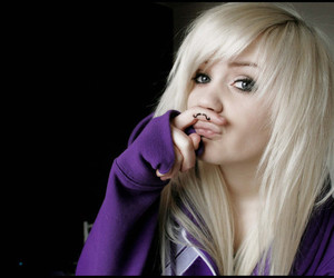 girl, purple, and blond image
